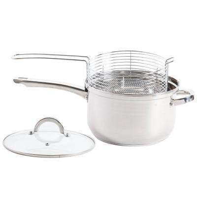 Sangerfield 3-Piece Stainless Steel Deep Fryer Sauce Pan and Frying Basket Set with Lid