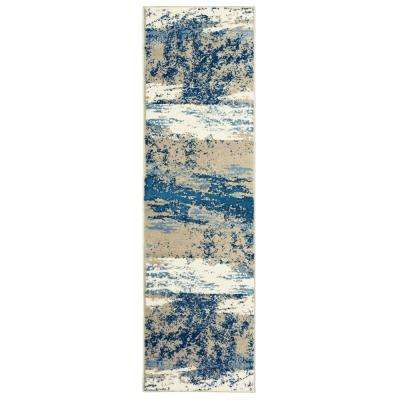 Matrix Light Beige/Soft Blue Rectangle 2 ft. 1 in. x 7 ft. 5 in. Indoor Runner Rug