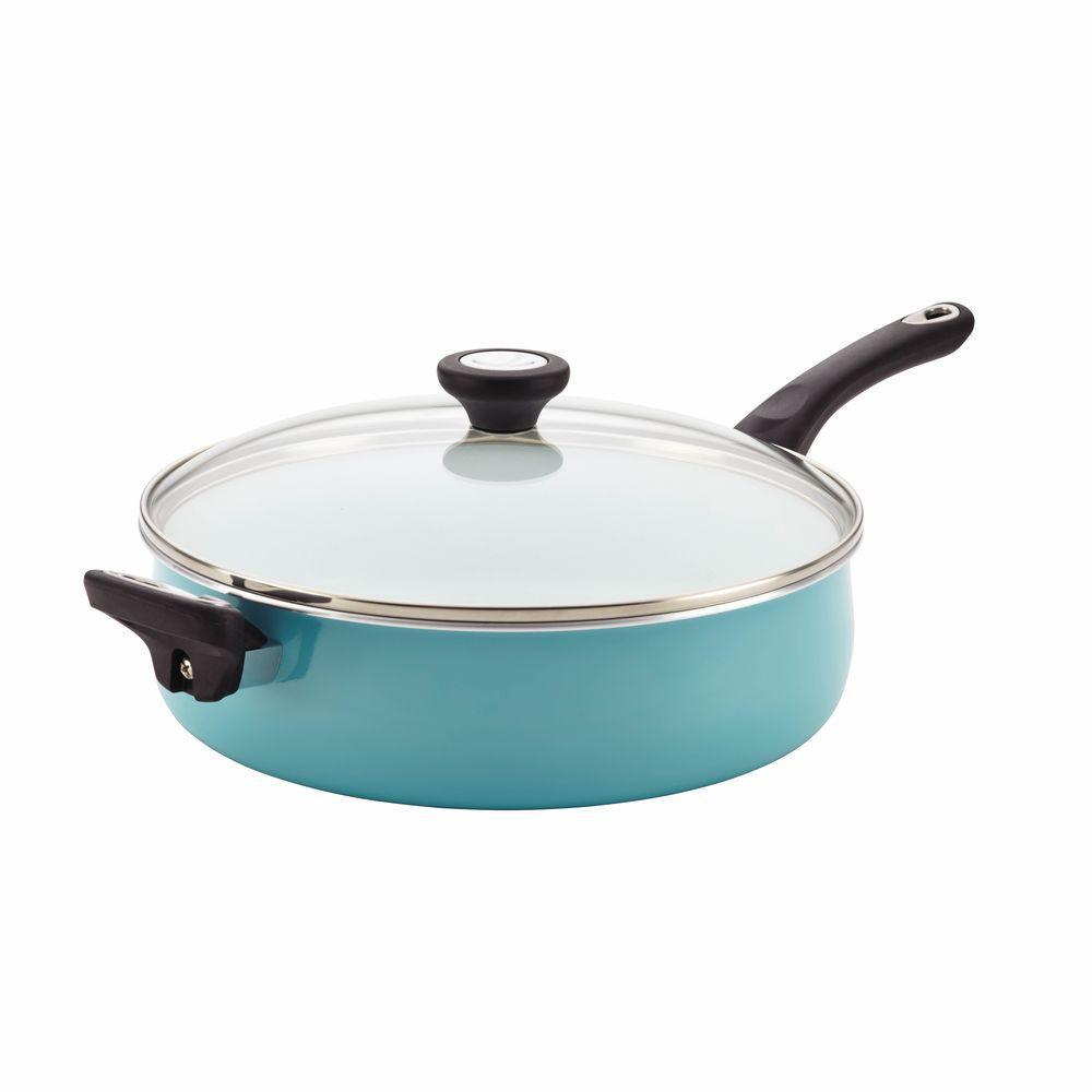PURECOOK Ceramic Nonstick Cookware 5-Quart Covered Jumbo Cooker with Helper Handle, Aqua
