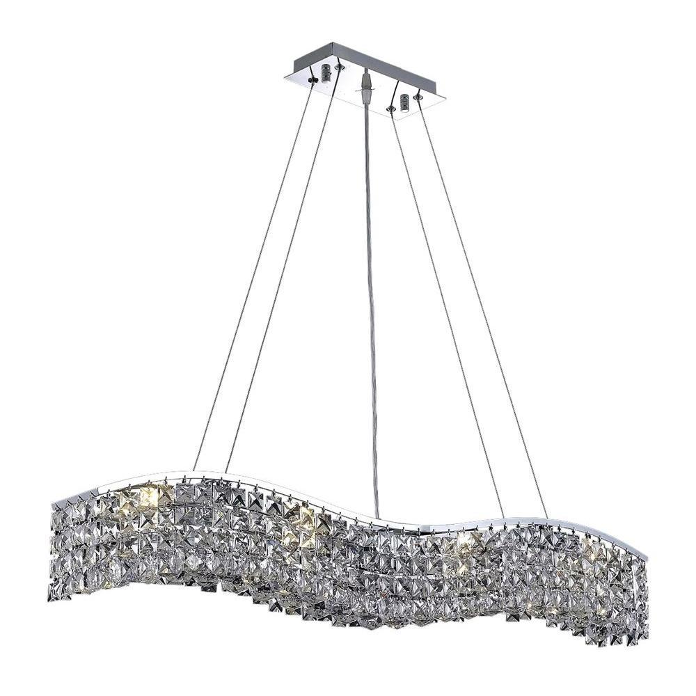 Elegant Lighting 8-Light Chrome Pendant with Clear Crystal