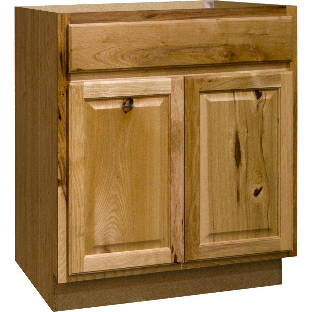 Hampton Bay Hampton Assembled 30x34.5x24 in. Base Kitchen Cabinet with Ball-Bearing Drawer Glides in Natural Hickory