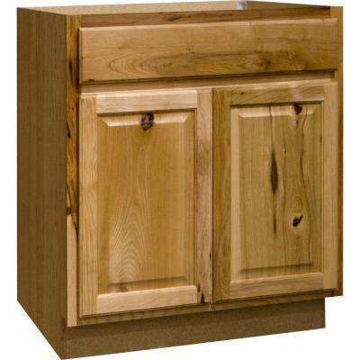 Hampton Assembled 30x34.5x24 in. Base Kitchen Cabinet with Ball-Bearing Drawer Glides in Natural Hickory