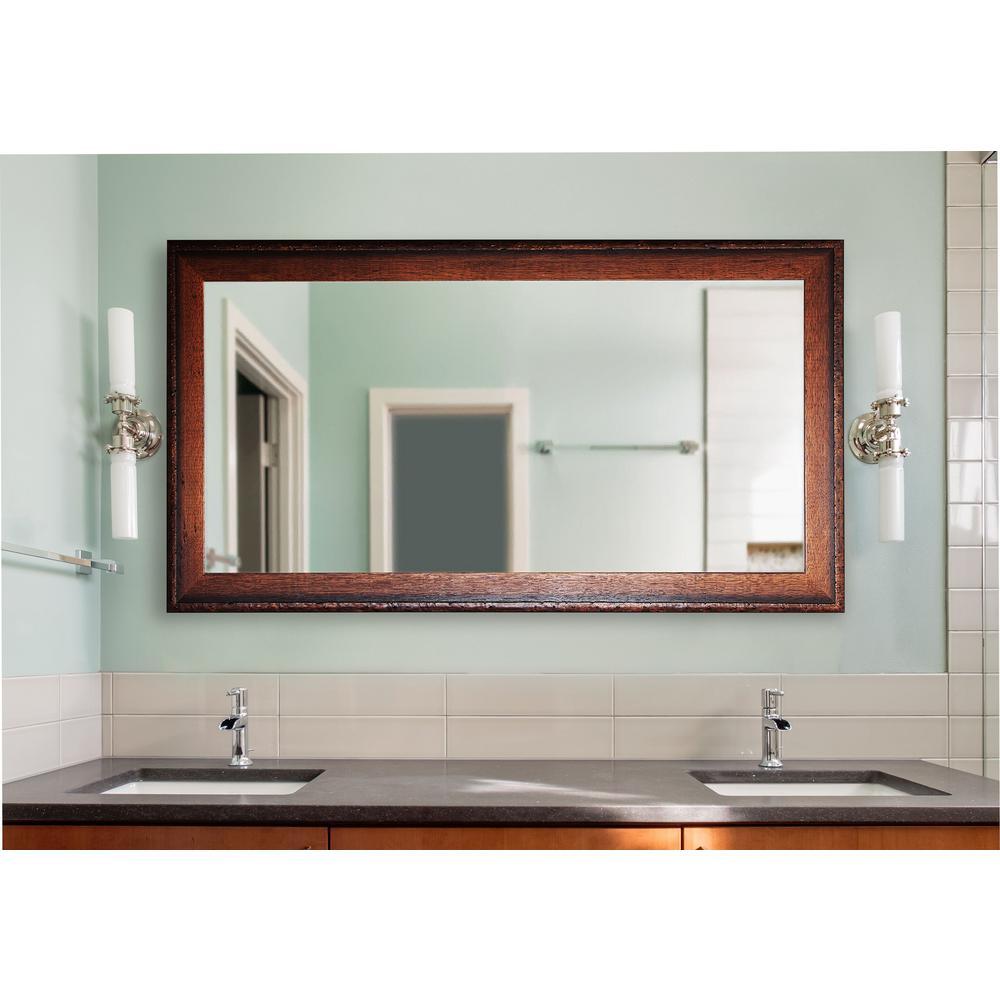 30 in. W x 59 in. H Framed Rectangular Bathroom Vanity Mirror in Medium Brown Wood