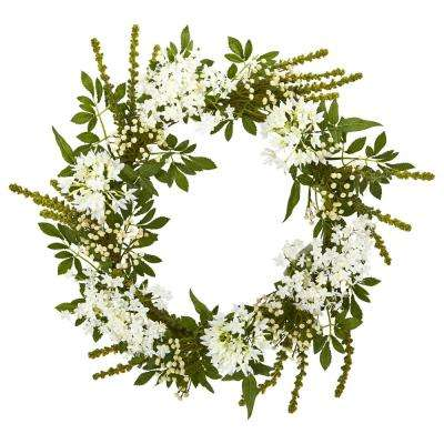 24 in. Indoor White Mixed Floral Artificial Wreath