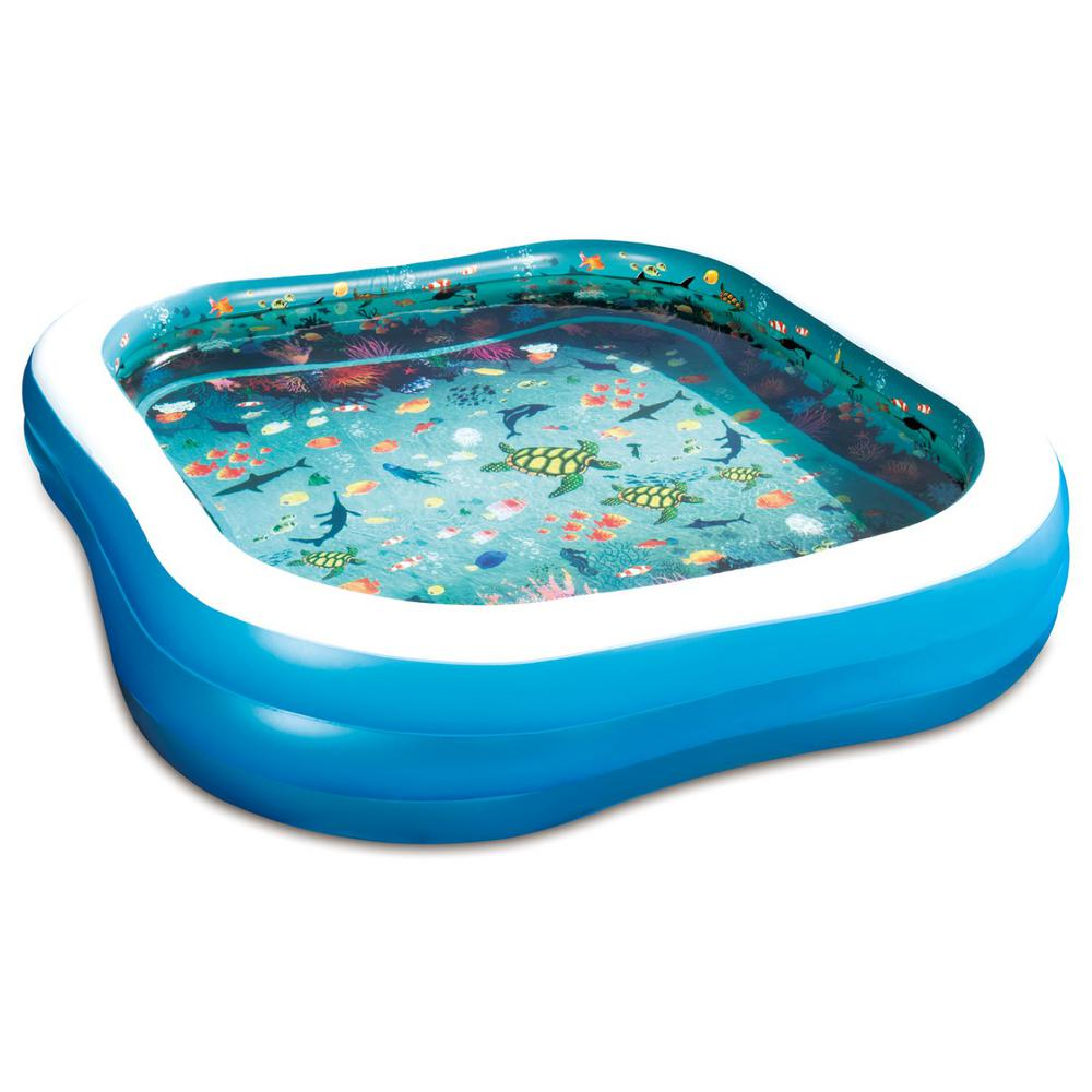 Summer Waves 3D Family 90 in. x 90 in. x 22 in. D Inflatable Square Above  Ground Pool