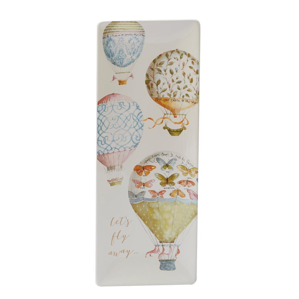 Beautiful Romance Multi-Colored 16 in. x 6 in. Ceramic Rectangular Platter