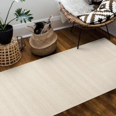 Washable Solid Textured Cream 2.5 ft. x 7 ft. Stain Resistant Runner Rug