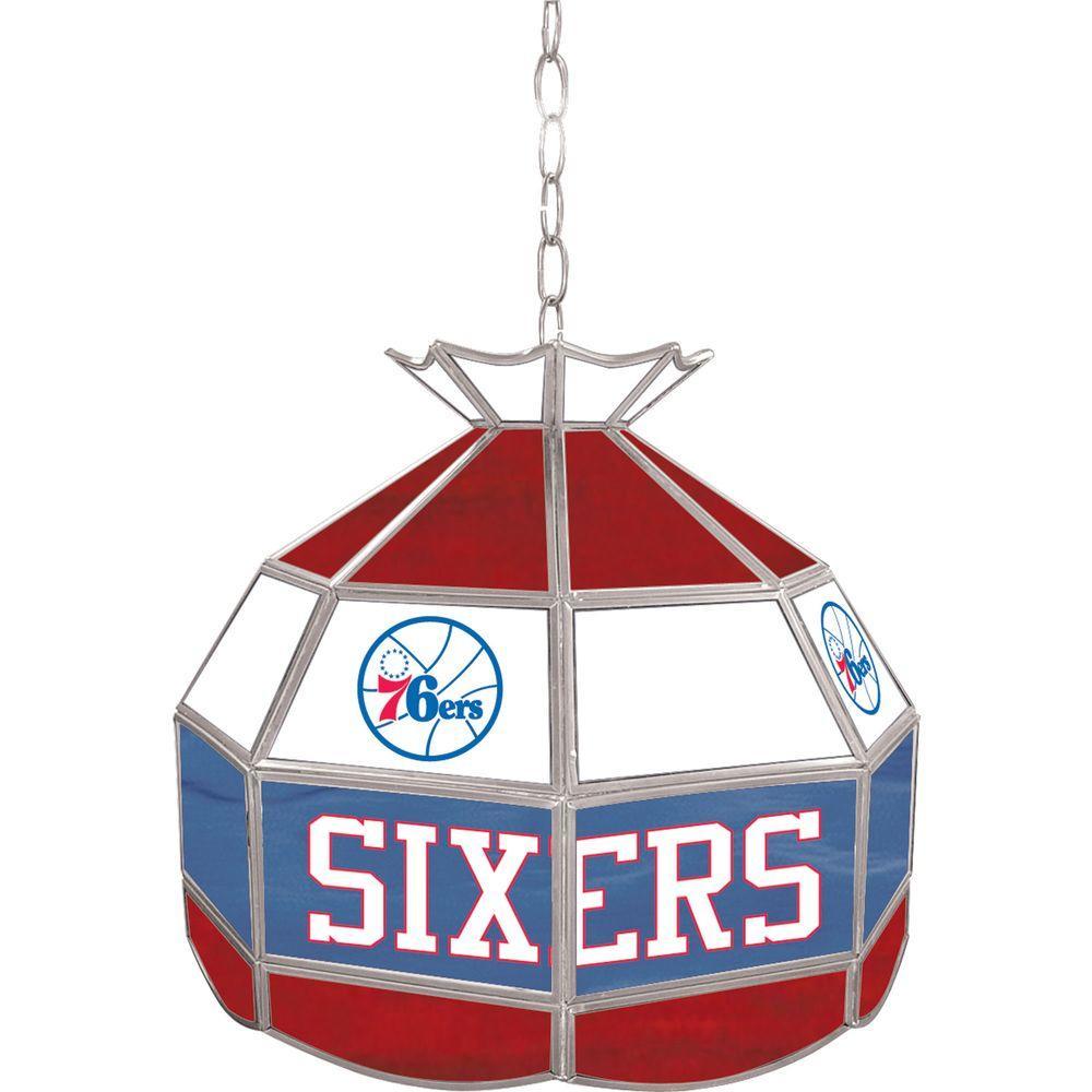 Trademark Global Philadelphia 76ers NBA 16 in. Nickel Hanging Tiffany Style Lamp