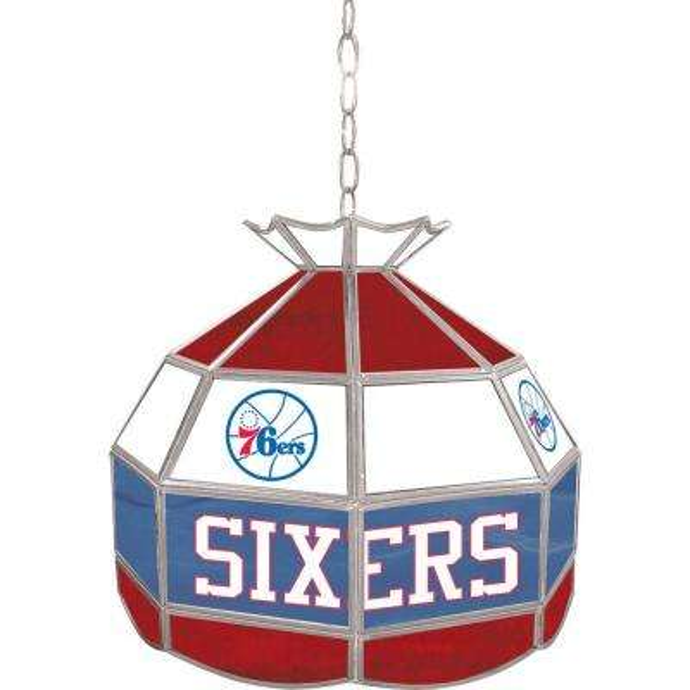 Philadelphia 76ers NBA 16 in. Nickel Hanging Tiffany Style Lamp