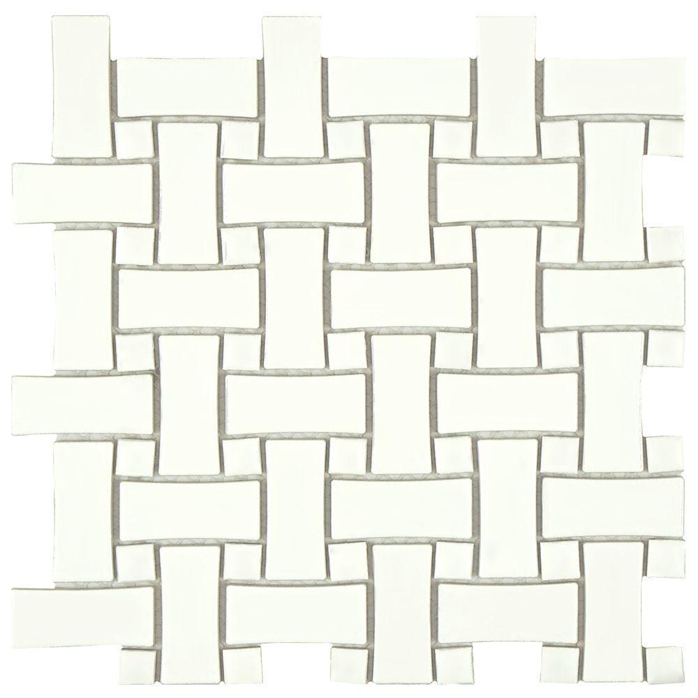 Metro Basket Weave White 10-1/2 in. x 10-1/2 in. x 5