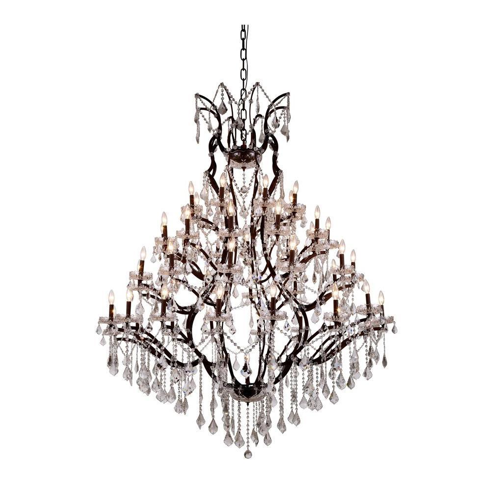 Elena 49-Light Rustic Intent Royal Cut Crystal Clear Pendant