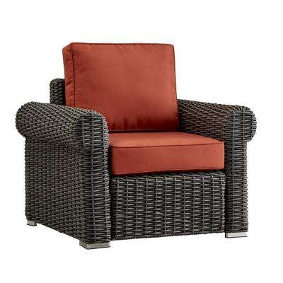 Camari Charcoal Rolled Arm Wicker Outdoor Patio Lounge Chair with Red Cushion