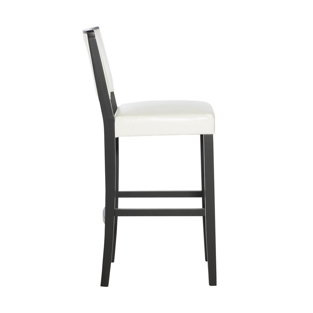 Amazing Linon Home Decor Zoe 30 In White Upholstered With Black Andrewgaddart Wooden Chair Designs For Living Room Andrewgaddartcom