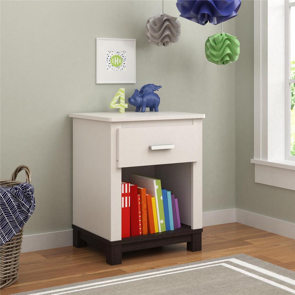 Leni 1 drawer white espresso nightstand
