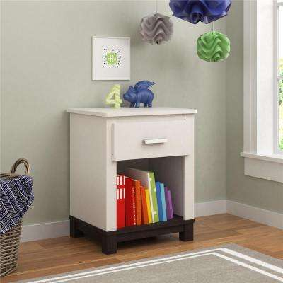 Leni 1-Drawer White/Espresso Nightstand