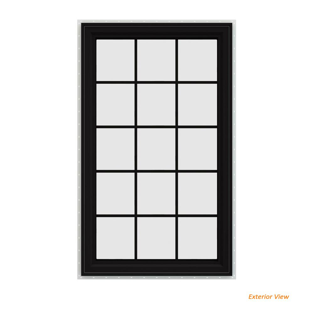 JELD-WEN 35.5 in. x 59.5 in. V-4500 Series Black Painted Vinyl Right-Handed Casement Window with Colonial Grids/Grilles