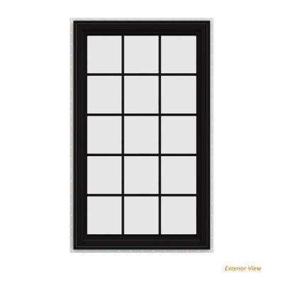 35.5 in. x 59.5 in. V-4500 Series Black Painted Vinyl Right-Handed Casement Window with Colonial Grids/Grilles