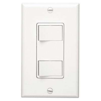 White 2-Function Rocker Switch Wall Control
