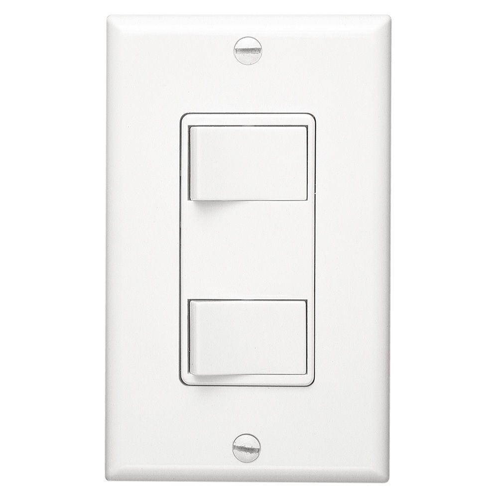 Broan-NuTone White 2-Function Rocker Switch Wall Control