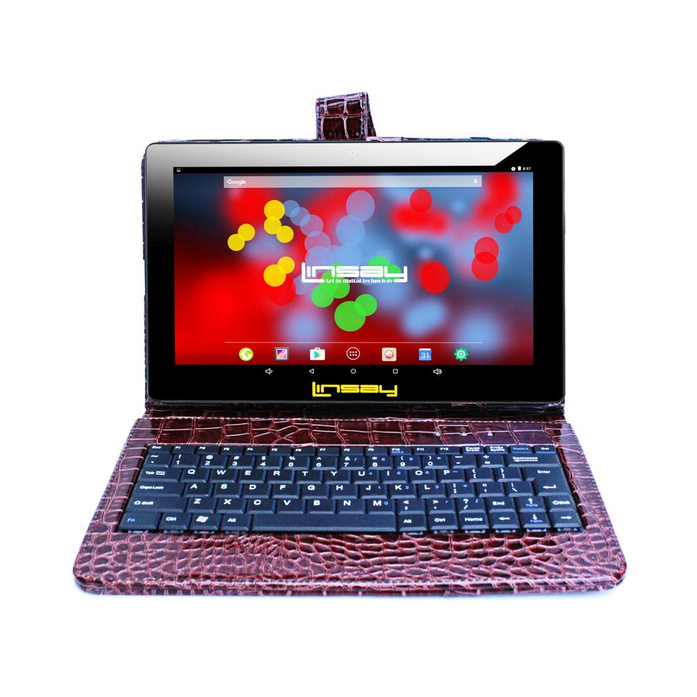 LINSAY 10.1 in. 1280x800 IPS 2GB RAM 16GB Android 9.0 Pie Tablet with Brown Crocodile Keyboard was $374.99 now $89.99 (76.0% off)