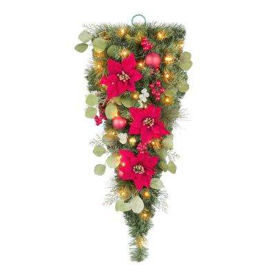 36 in. Berry Bliss Battery Operated Pre-Lit LED  Artificial Christmas Tear Drop