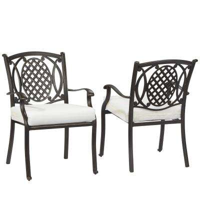 Belcourt Rubbed Onyx Metal Outdoor Patio Dining Chair with Bare Cushions (2-Pack)