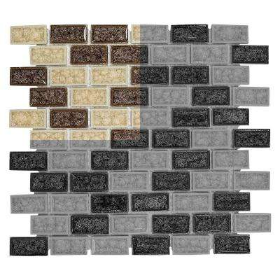 Hazelnut Butter Crackle 3 in. x 6 in. x 8 mm Glass Mosaic Tile Sample