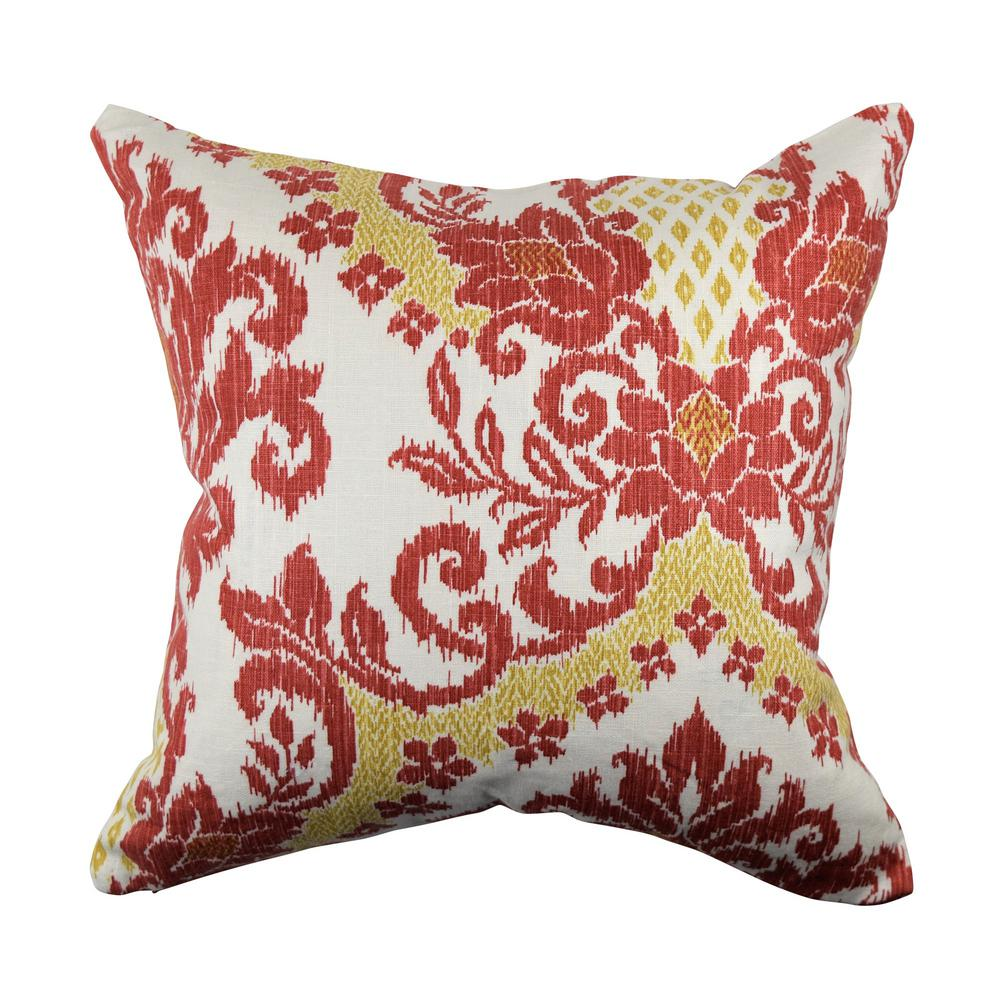 Vesper Lane Red And Gold Damask Linen Throw Pillow