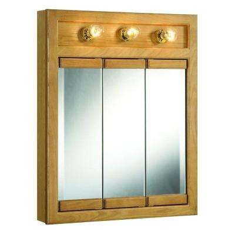 Richland 24 in. W x 30 in. H x 5 in. D Framed 3-Light Tri-View Surface-Mount Bathroom Medicine Cabinet in Nutmeg Oak