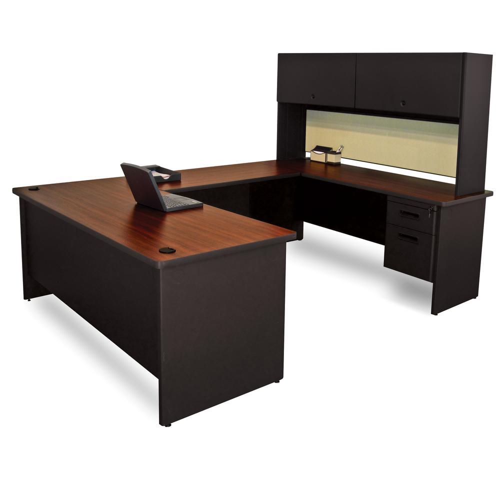 8 ft. 6 in. W x 6 ft. D:Black and MahoganyBeryl U-Shaped Desk with Flipper Door Unit