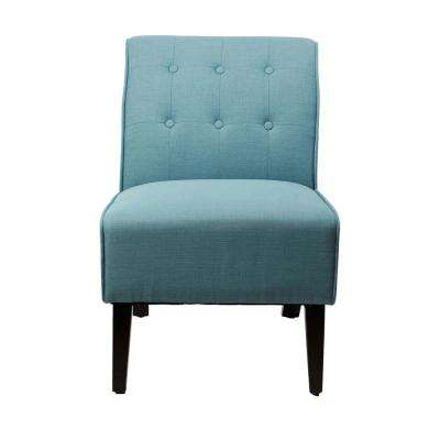 Lillian Capri Blue Upholstered Armless Tufted Occasional Chair