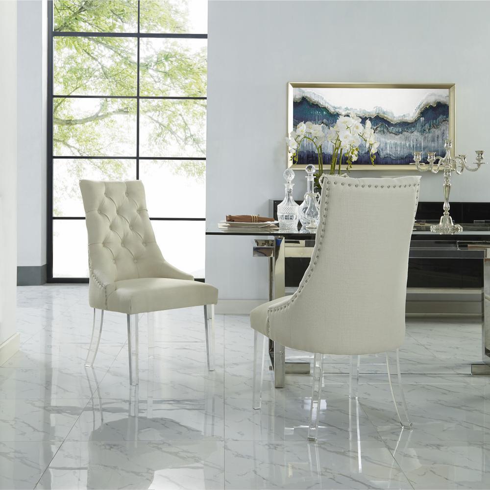 Winona Cream White Linen Acrylic Leg