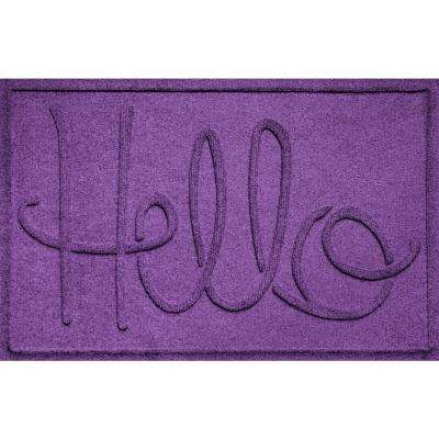 Simple Hello Purple 24 in. x 36 in. Polypropylene Door Mat