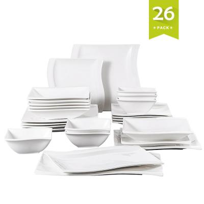 FLORA 26-Piece White Porcelain Dinnerware Set Dinner Plates and Bowls Set (Service for 6)