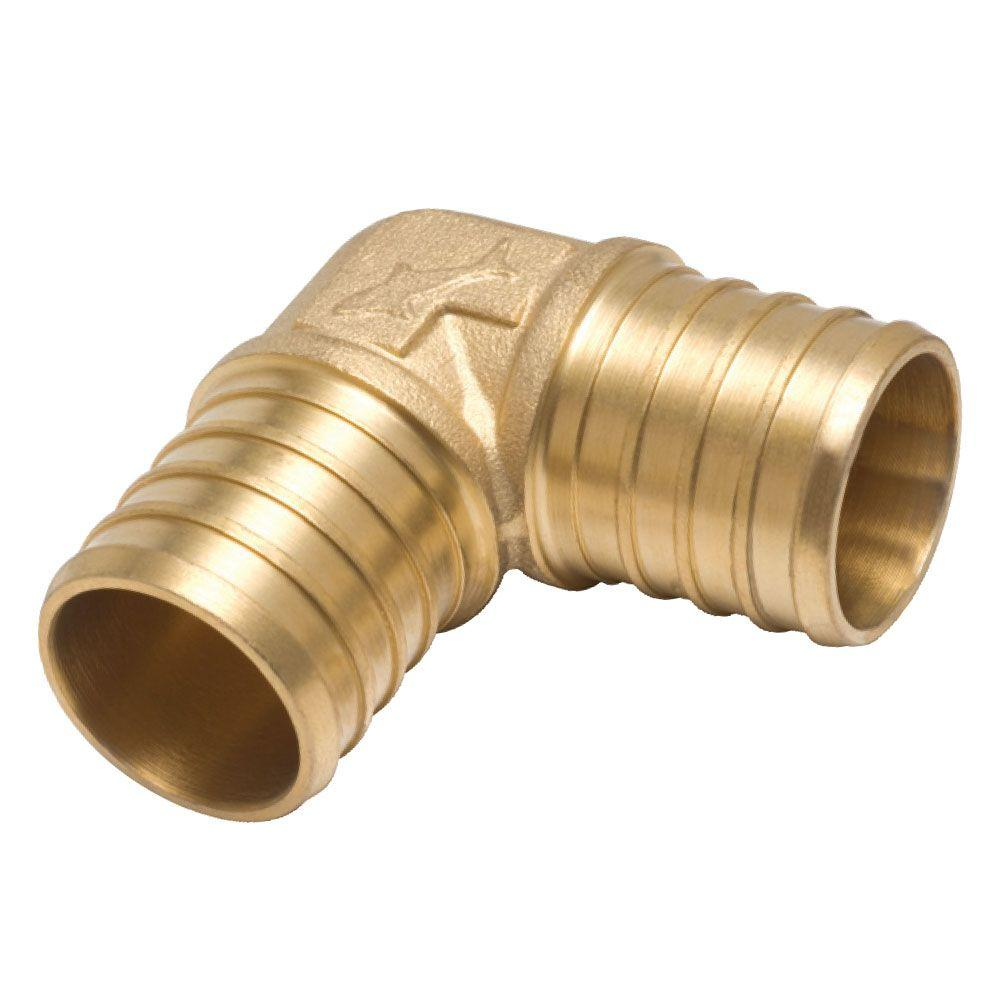 SharkBite 5/8 in. Brass PEX 90-Degree Barb x Barb Elbow