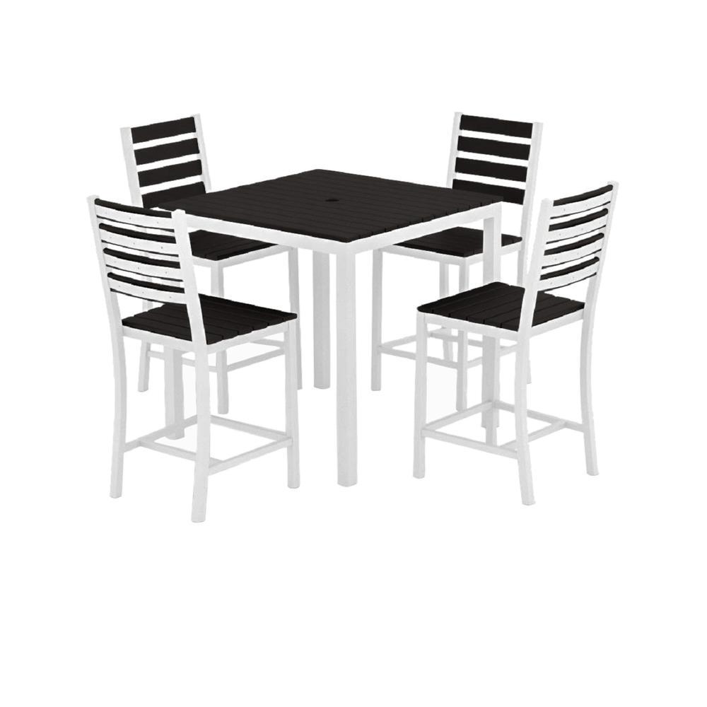 Loft White 5-Piece Aluminum Outdoor Balcony Height Dining Set