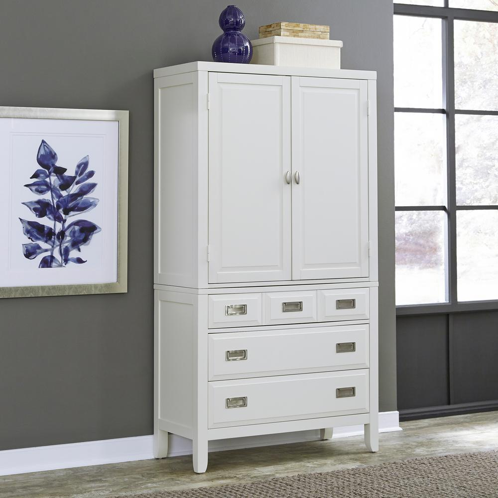 home styles newport white armoire 5515 45 the home depot. Black Bedroom Furniture Sets. Home Design Ideas