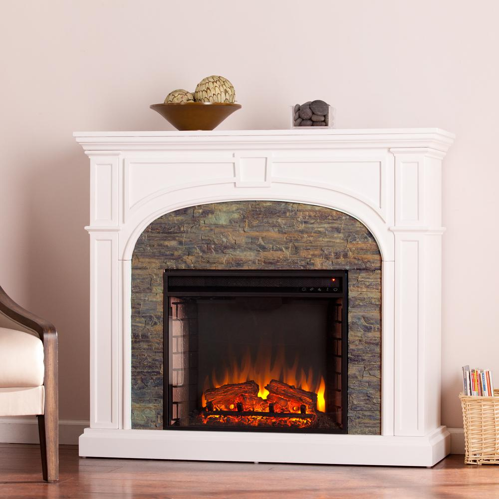 Granby 45.75 in. W Stacked Stone Effect Electric Fireplace in White