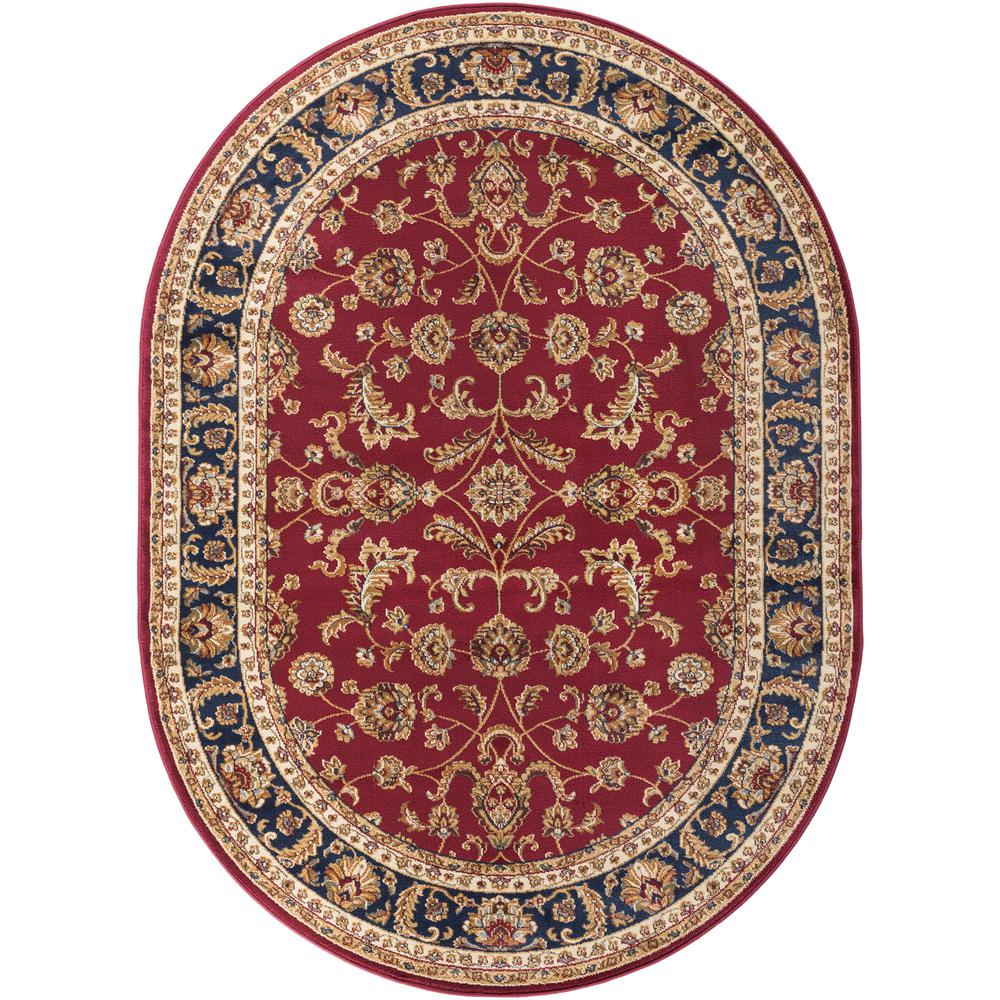 Tayse Rugs Sensation Red 7 Ft. X 10 Ft. Oval Transitional