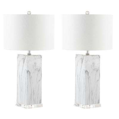 Olympia 29 in. Black/White Marble Table Lamp (Set of 2)