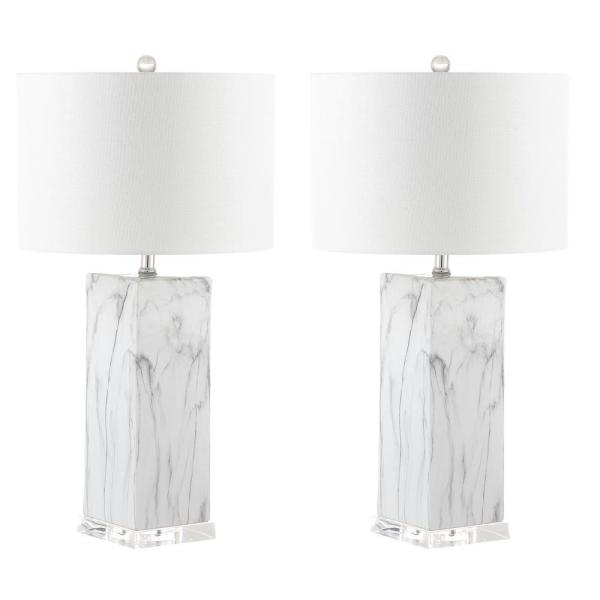 Olympia 29 in. Black/White Marble Table Lamp with White Shade (Set of 2)