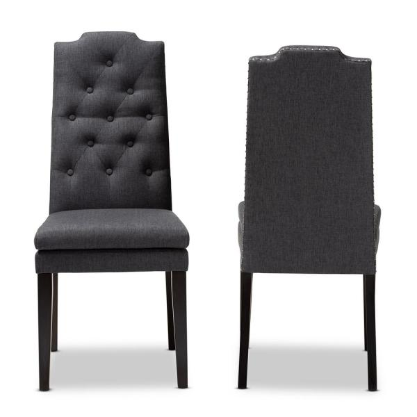 Baxton Studio Dylin Charcoal Fabric Dining Chair (Set of 2) 155-2PC-9113-HD