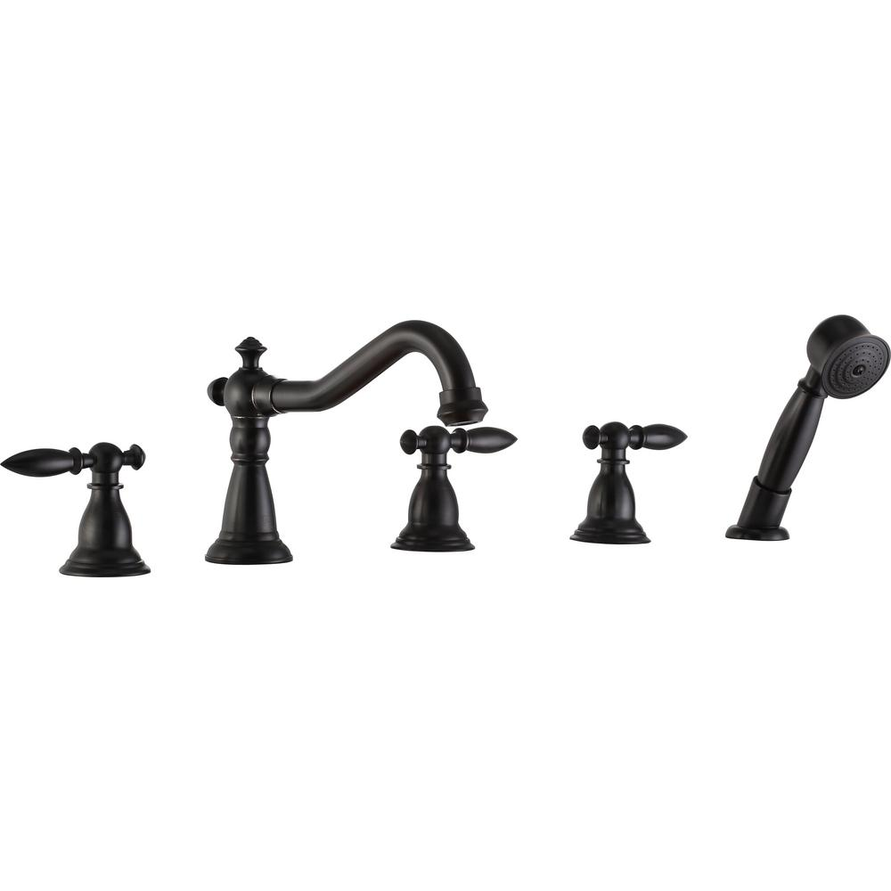 Patriarch 2-Handle Deck-Mount Roman Tub Faucet with Handheld Sprayer in Oil