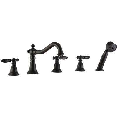 Patriarch 2-Handle Deck-Mount Roman Tub Faucet with Handheld Sprayer in Oil Rubbed Bronze