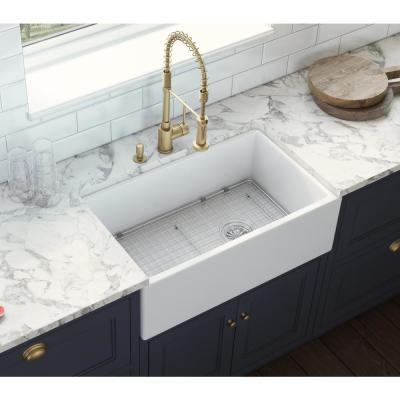 30 in. Single Bowl Farmhouse Fireclay Kitchen Sink with Right Offset Drain in White