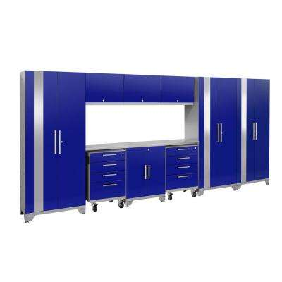 Performance 2.0 162 in. W x 75.25 in. H x 18 in. D Steel Stainless Steel Worktop Cabinet Set in Blue (10-Piece)