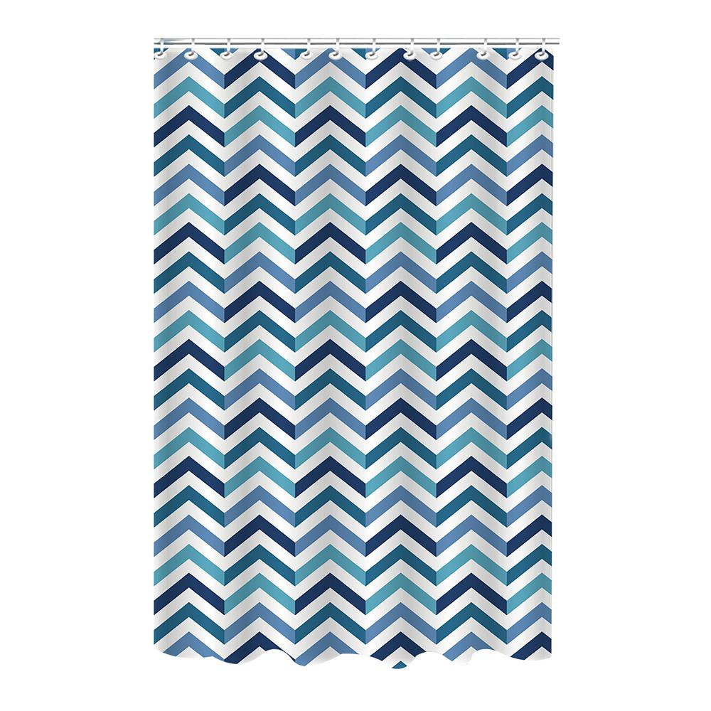 Dobie 72 in. Blue Shower Curtain Saphire Chevron Design with Hooks