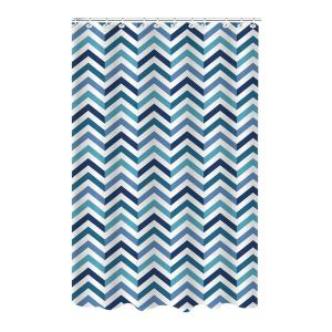 Bath Bliss Dobie 72 inch Blue Shower Curtain Saphire Chevron Design with Hooks by Bath Bliss