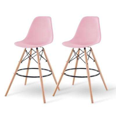 43 in. Pink Bar Stool (Set of 2)