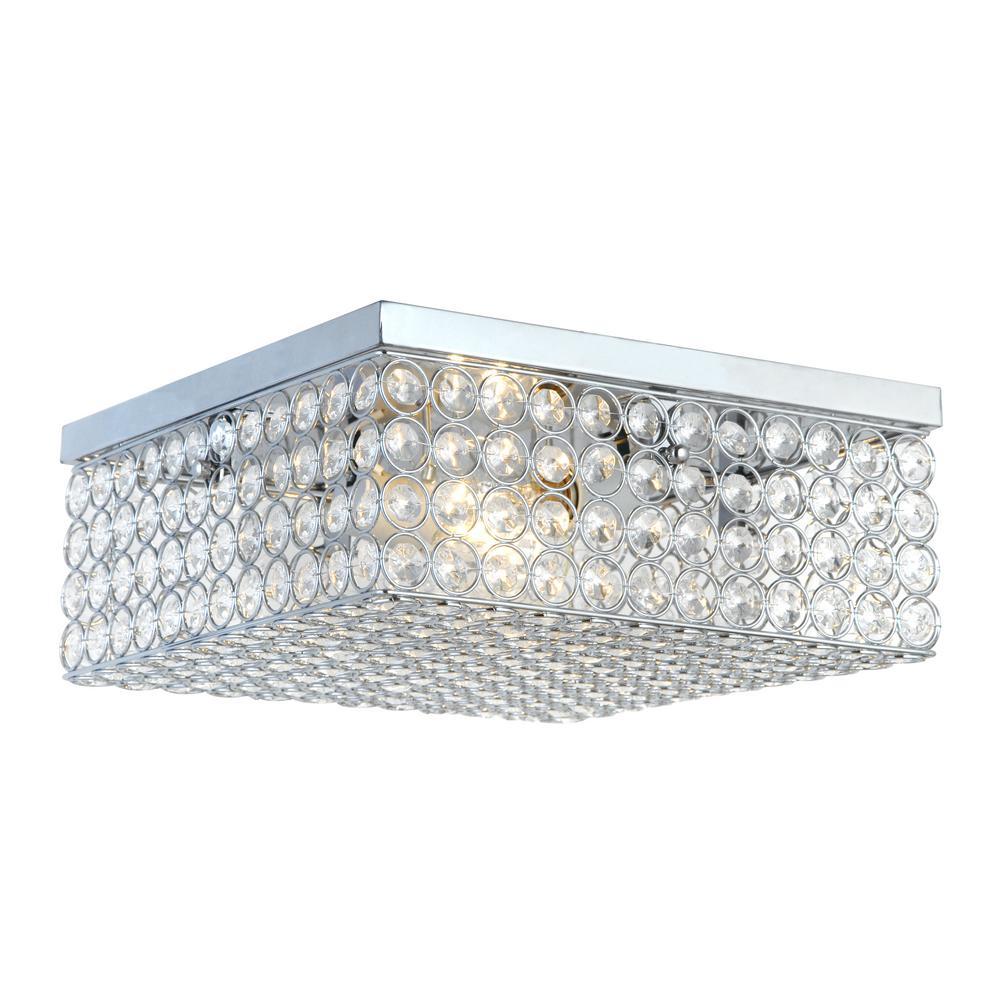 Elegant designs 12 in 2 light elipse chrome square flush mount